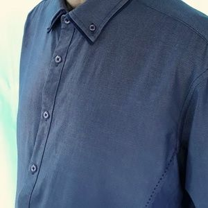 Inc International Concepts Blue LS Double Collar